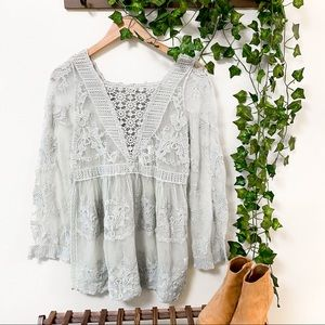 NWT Monoreno Mint Sheer Lace Tunic - M